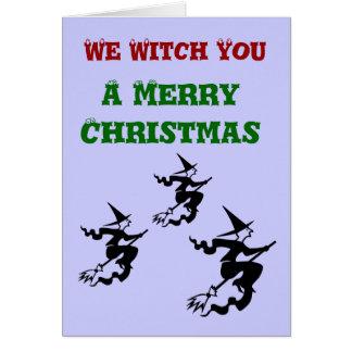 Wir Hexe Sie eine frohe Weihnacht-Gruß-Karte Karte