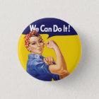 Wir können es tun! Rosie der Nieteneinschläger Runder Button 3,2 Cm