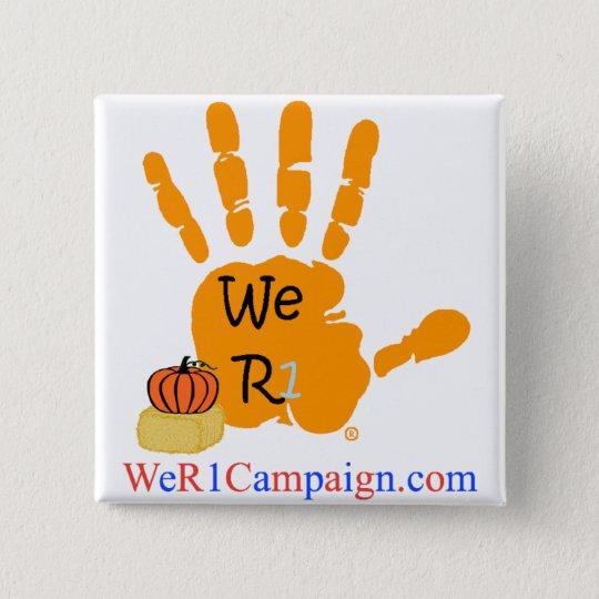 Wir orange Knopf (Halloween) HandR1 Quadratischer Button 5,1 Cm