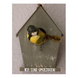 Wir sind umgezogen! - Postkarte (Vogelhaus)