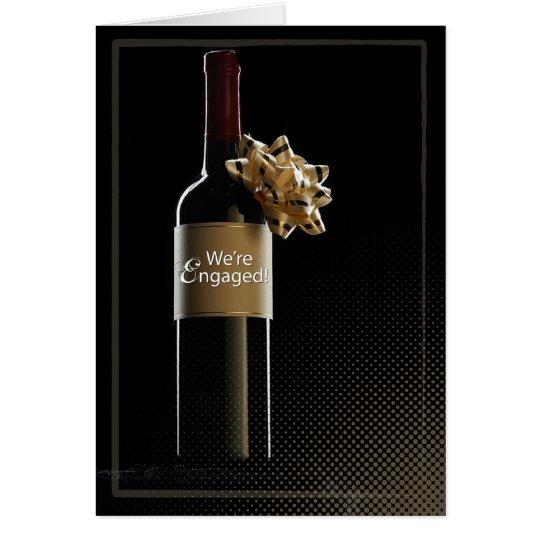 Wir sind verlobte Wein-Flasche Karte