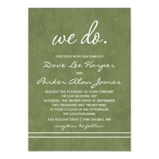 Wir tun Hochzeits-Einladungen │ tiefes Olivgrün Karte