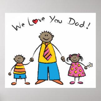 Wir Vatertag Liebe-Sie Vati-Cartoon-Familien-der g Plakat