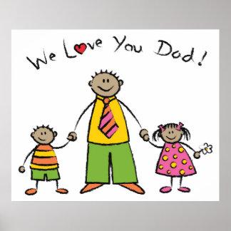 Wir Vatertag Liebe-Sie Vati-Cartoon-Familien-der g Poster