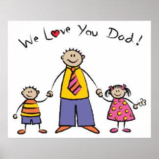 Wir Vatertag Liebe-Sie Vati-Cartoon-Familien-der g Plakatdrucke