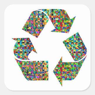 Wir verehren recyceln grüne Umwelt des Quadratischer Aufkleber