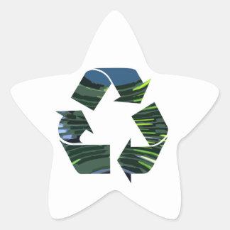 Wir verehren recyceln grüne Umwelt des Stern-Aufkleber
