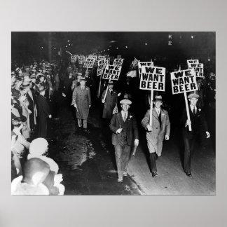 Wir wollen Bier! Verbot Protest, 1931 Vintag Poster