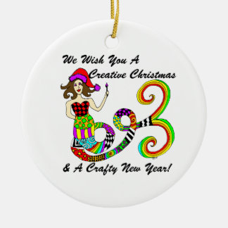 Wir wünschen Ihnen eine kreative Rundes Keramik Ornament