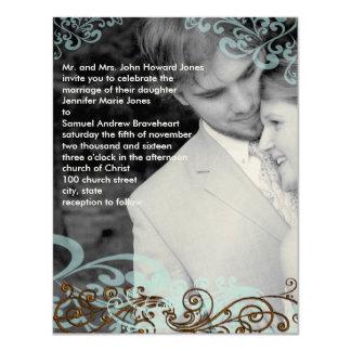 Wirbel Ihr Foto-Hochzeits-Einladungs-Blau u. Brown 10,8 X 14 Cm Einladungskarte