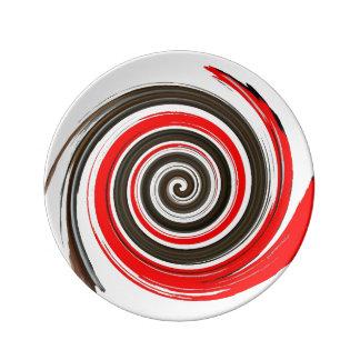 Wirbeln rot, Weiß und SchokoladeBrushstroke Teller
