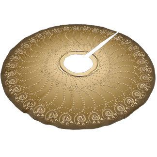 Wirbels-Reihen-Gold auf Gold Polyester Weihnachtsbaumdecke