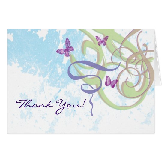 Wirbels-Schmetterlings-Illustration danken Ihnen! Grußkarte