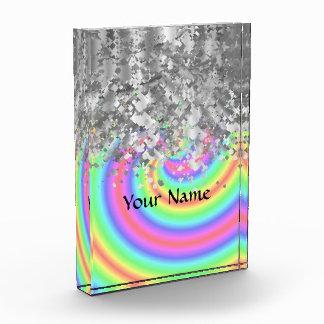 Wirbler Regenbogen- und Imitat-Glitter Acryl Auszeichnung