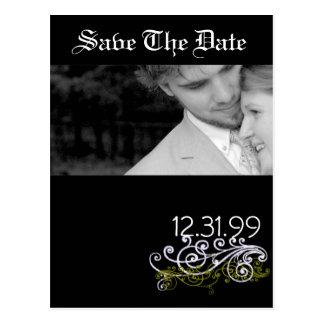 Wirbles Schwarzes u. Weiß Save the Date Postkarte