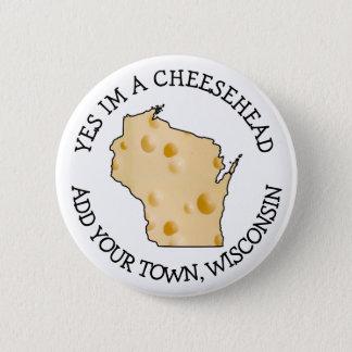 Wisconsin-Spaß Cheesehead Knopf Runder Button 5,1 Cm
