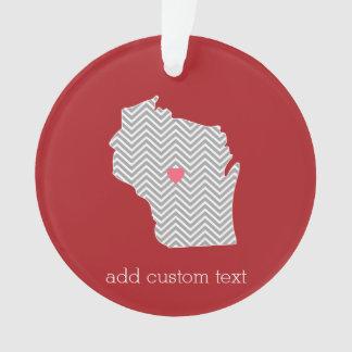 Wisconsin-Staats-Karte mit kundenspezifischem Ornament
