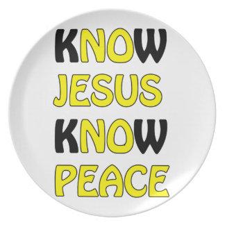 Wissen Sie, dass Jesus Frieden kein Jesus kein Melaminteller