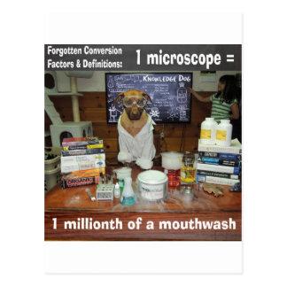 Wissens-Hund vergessenes Umwandlungs-Mikroskop Postkarte