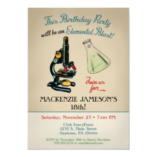 Wissenschafts-Geburtstags-Einladungs-Mikroskop Karte
