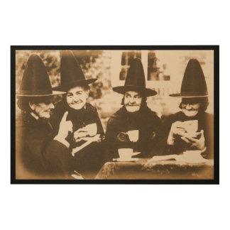 Witches Tea Party – sepia Holzleinwand