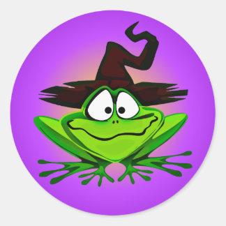Witchy Frosch lila Runder Aufkleber