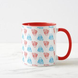 Wo roter und blauer Waldo ist, stellen Sie Muster Tasse