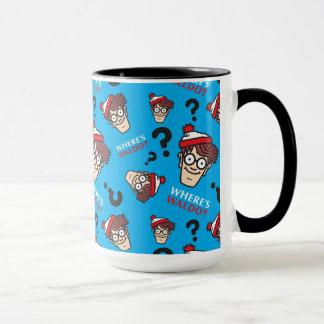 Wo Waldo Blau-Muster ist Tasse
