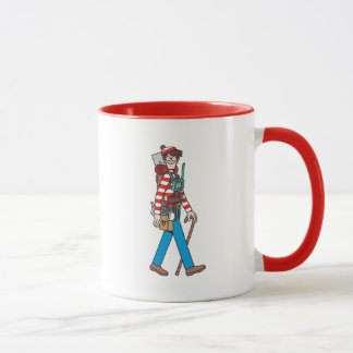 Wo Waldo mit seiner ganzer Ausrüstung ist Tasse