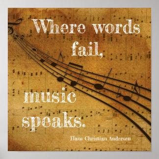 Wo Wörter versagen ** Musik spricht - Kunst-Druck Poster