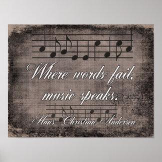 Wo Wörter versagen -- Musik-Zitat - Druck Poster