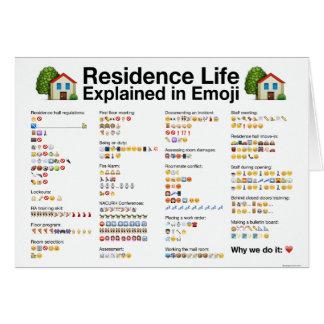 Wohnsitz-Leben erklärt in der Emoji Gruß-Karte Karte