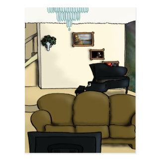 Wohnzimmer Postkarte