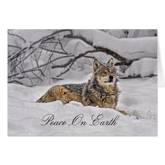 Wolf-amerikanische grauer Wolf-Feiertags-Karte Grußkarte