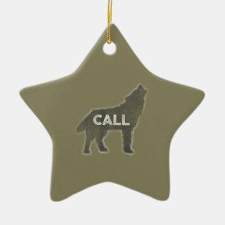Wolf-Anruf Vintag (v1) Keramik Stern-Ornament