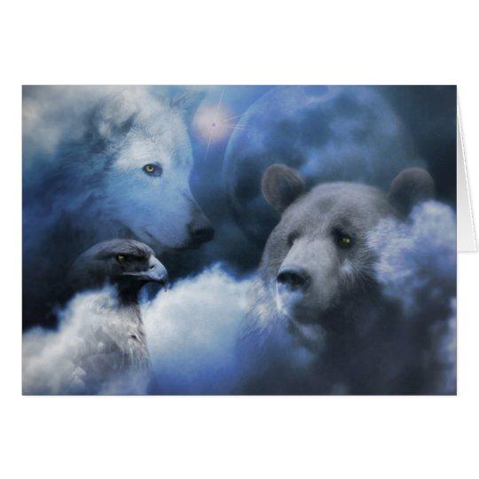 Wolf, Bär und Eagle-frohe Feiertage Karte