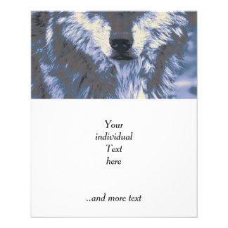 Wolf, blau flyerdruck
