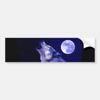 Wolf, der am Mond heult Autoaufkleber