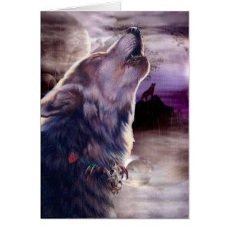 Wolf, der am Mond heult Karte
