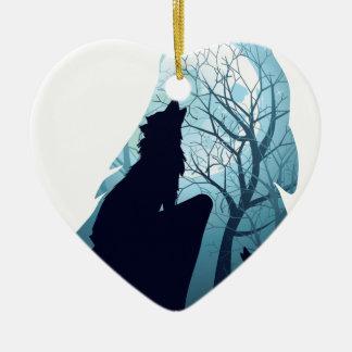 Wolf, der mit Forest2-01 heult Keramik Herz-Ornament