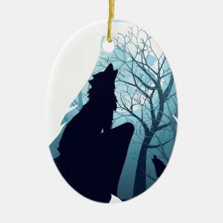 Wolf, der mit Forest2-01 heult Keramik Ornament