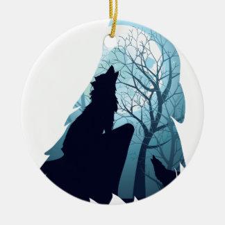 Wolf, der mit Forest2-01 heult Rundes Keramik Ornament