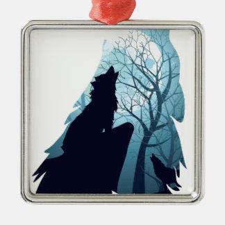 Wolf, der mit Forest2-01 heult Silbernes Ornament
