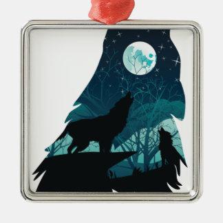 Wolf, der mit Wald heult Quadratisches Silberfarbenes Ornament