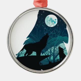 Wolf, der mit Wald heult Silbernes Ornament