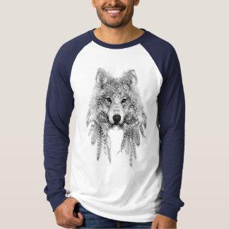 Wolf einheimischer in der Kleiderraglan-langen T-Shirt