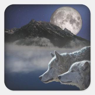 Wolf-Geist Quadratischer Aufkleber