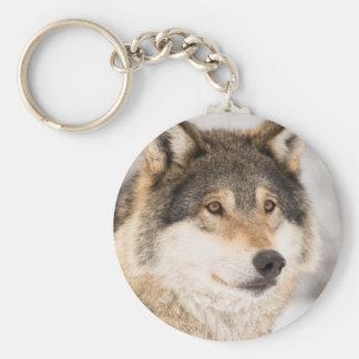 Wolf-Gesichtsnahaufnahme Standard Runder Schlüsselanhänger