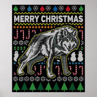 Wolf-hässliche Weihnachtsstrickjacke-Tier-Reihe Poster