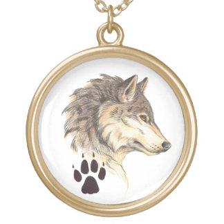 Wolf-Hauptprofil Halskette Mit Rundem Anhänger